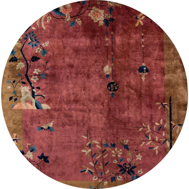 Beautiful antique Chinese Art Deco rug, hand-knotted wool with a red field, brown frame in a subtle all-over Classic...
