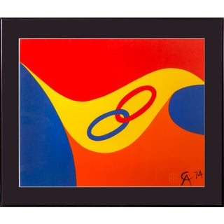 """Alexander Calder, """"Flying Colors 2"""", Bright Abstract Lithograph For Sale"""