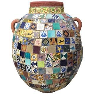 Terracotta Single Garden Vase Urn with Ceramic Tile Mosaic For Sale
