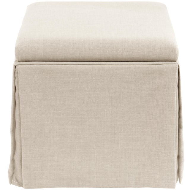 Spritely Home Linen Talc Skirted Storage Ottoman For Sale - Image 4 of 7