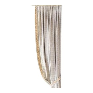 Champagne Striped Window Treatments With Gold Beaded Trim - a Pair For Sale