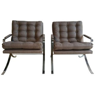 1970s Flat Steel Chrome Lounge Chairs Milo Baughman Inspired - A Pair For Sale