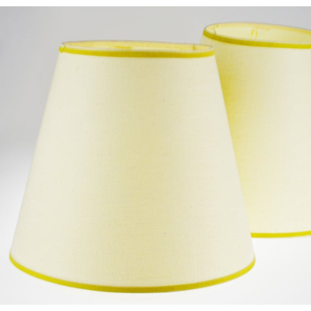 Vintage Bell Shape Linen Fabric Lamp Shades - a Pair For Sale - Image 4 of 12