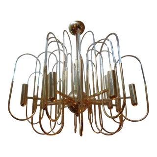 1960s Gaetano Sciolari Italian Brass and Glass Chandelier For Sale