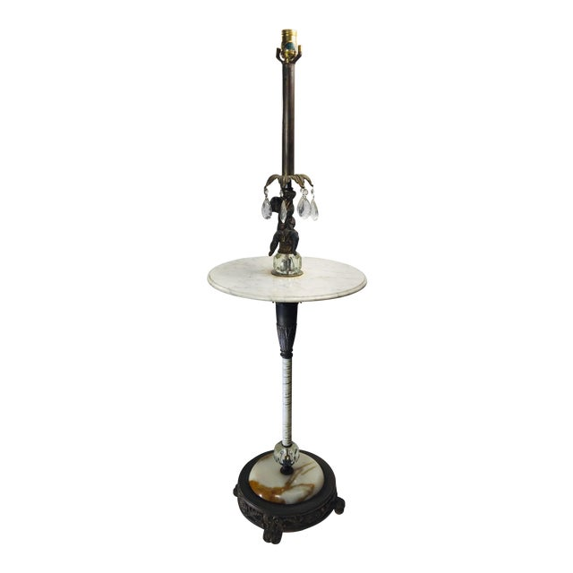 Vintage Marble and Agate Figural Putti Floor Lamp For Sale