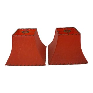 1950s Red Rawhide Vintage Lampshades - a Pair For Sale