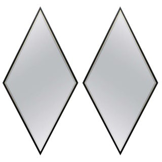 Pair Wooden Framed Diamond Mirrors For Sale