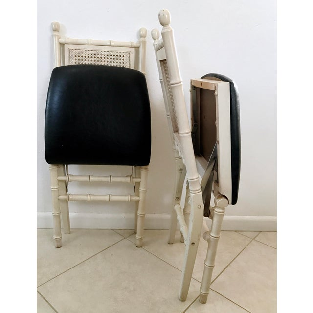 1960s 1960's Stackmore Faux Bamboo Cane Back Folding Chair- a Pair For Sale - Image 5 of 10