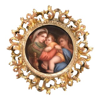 Antique Porcelain Plaque Madonna and Child in Gilt Frame For Sale