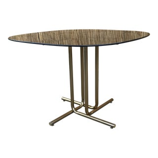 Mid-Century Modern Marcel Breuer Smoke Glass Brass Tubular Square Dining Table For Sale
