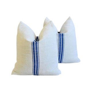 French Royal Blue Stripe Gain Sack Feather/Down Pillows - Pair