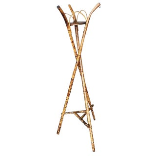 Restored Bamboo Tripod Planter Pedestal Floor Stand For Sale