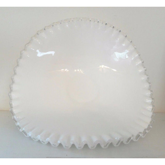 Fenton Milk Glass Silver Crest Banana Bowl Centerpiece For Sale - Image 5 of 6