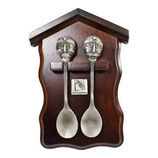 "The Yangju Byoulsandae Mask ""The Lucky Tea Spoon"" Gyeon Gi-Do Pewter Spoons With Wood Plaque - 3 Pieces For Sale"