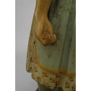 American Country style life size wood figure of young girl For Sale In New York - Image 6 of 11