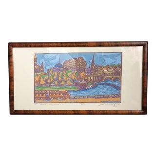 1970s Vintage John Wantz Bath, England Block Print For Sale