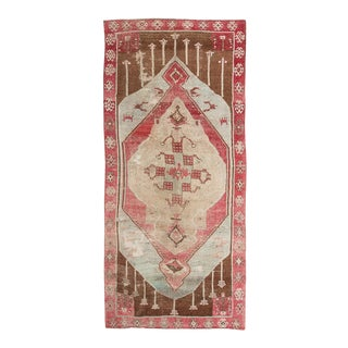 Vintage Pink and Brown Oversized Turkish Kars Wool Rug For Sale