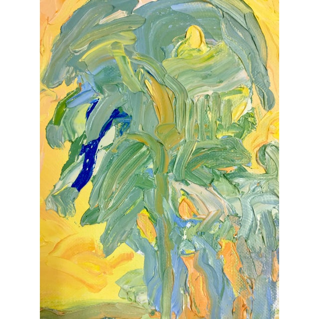 1970s Abstract Juan Guzman Palm Trees Landscape Oil Painting For Sale - Image 4 of 10
