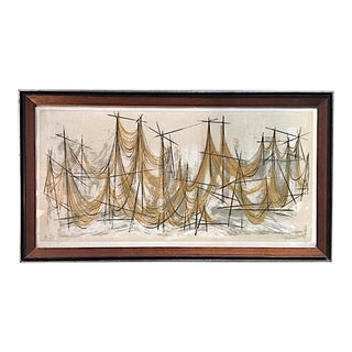 """""""Sunning Sea Nets"""" Mid Century Artwork by O. Sims For Sale"""