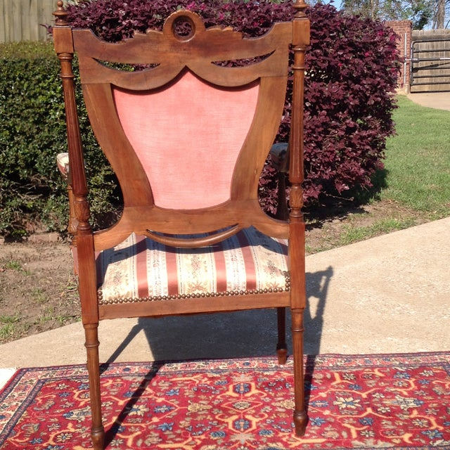 19th Century French Carved Mahogany Dining Arm Chairs - a Pair - Image 5 of 11