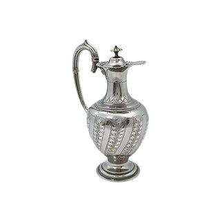 Vintage English Silver-Plate Victorian Wine Carafe For Sale