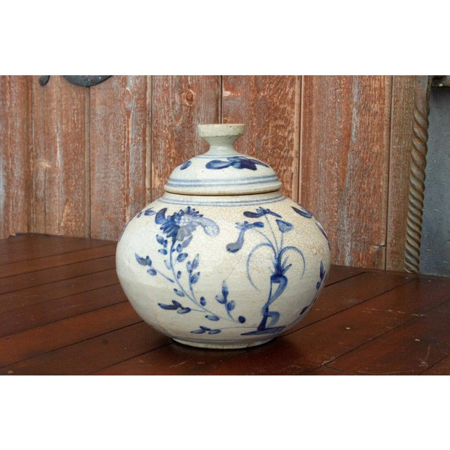 Fascinating Early 20th Century Blue and White Jar For Sale - Image 9 of 12