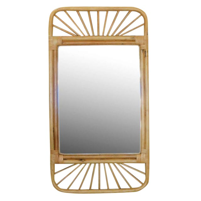Mid-Century Rattan Wall Mirror with Wicker Wrappings - Image 1 of 5