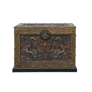 Chinese Distressed Veneer Yellowish Brown Dragon Motif Trunk Table For Sale