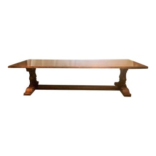 English Grand-Size Aged Oak Trestle Table. For Sale