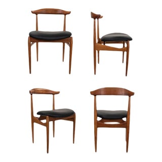 Set of Four Cow Horn Chairs by Knudsen Faern For Sale