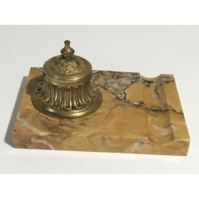 1900 - 1909 Antique French Gilded Bronze & Marble Inkwell For Sale - Image 5 of 13