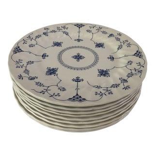 Vintage 1982 Myott Finlandia Blue & White Set of 10 Dessert Plates For Sale