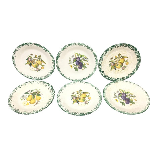 Italian Tre Ci Fruit Plates - Set of 6 For Sale