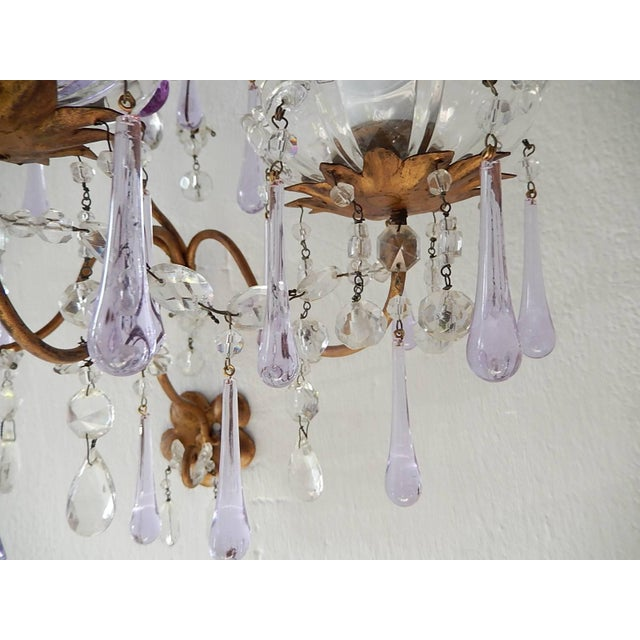 1920s French Murano Drops Lavender Crystal Flowers Three-Light Sconces, circa 1920 For Sale - Image 5 of 10