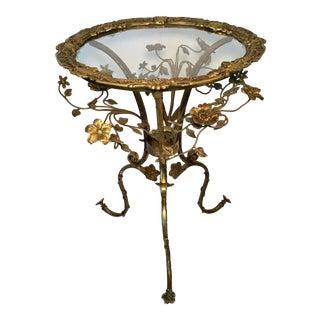 Floral Gilt Metal Table For Sale