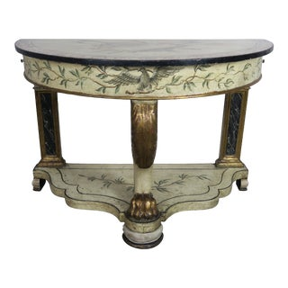 19 Th Century Demilune Painted Console Table For Sale