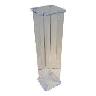 """Vintage Lucite Pedestal 46"""" With Beveled Edges and Chamfered Corners For Sale"""