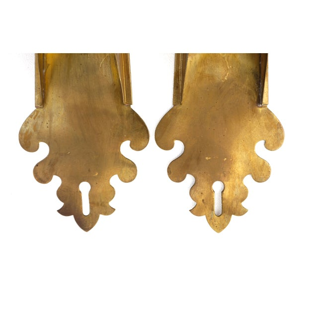 Gold Vintage Brass Wall Planters | Pair of Wall Mount Vases | Moroccan Stemmed Flower Sconces|| Boho Chic/Hollywood Regency Wall Decor For Sale - Image 8 of 13