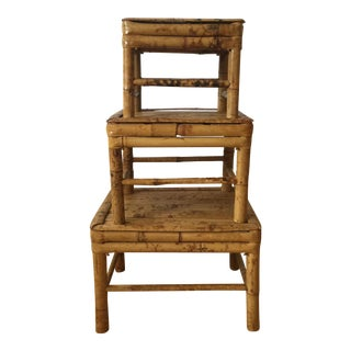 Bamboo Tortoise Shell Nesting Stools - 3 For Sale