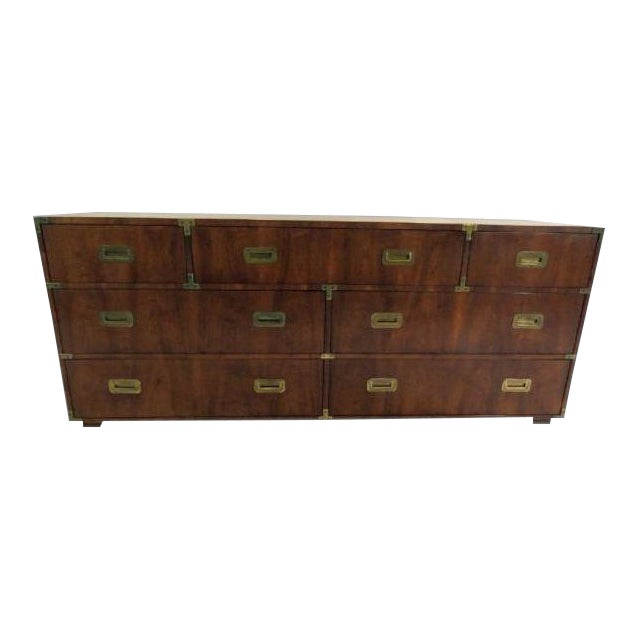 Vintage Henredon Campaign Low Boy Chest For Sale