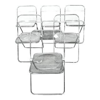 1960s Vintage Giancarlo Piretti Castelli Plia Smoked Anonima Lucite Chairs- Set of 6 For Sale