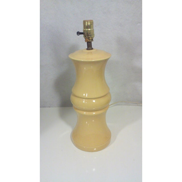 Mid-Century Yellow Ceramic Baluster Table Lamp - Image 3 of 5