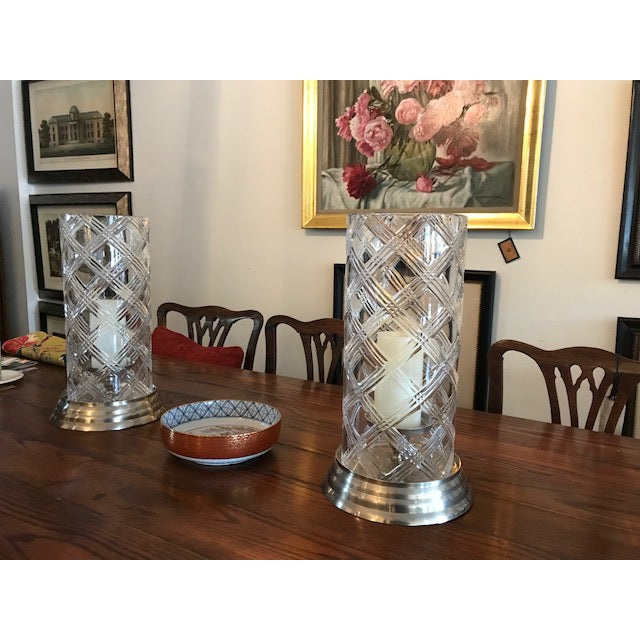 English Crystal Hurricane Globes - a Pair For Sale - Image 3 of 11
