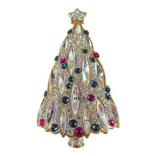 Vintage Swarovski Crystal Christmas Tree Brooch For Sale