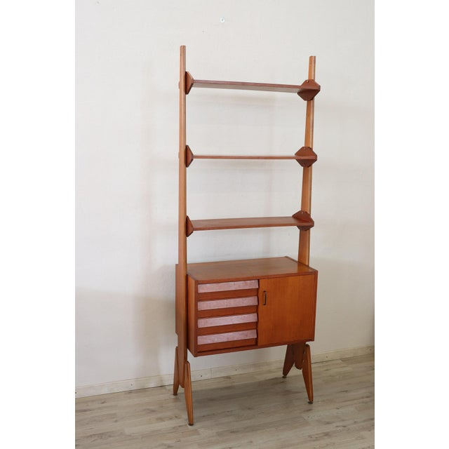 Wood 20th Century Italian Vintage Design Bookcase, 1970s For Sale - Image 7 of 11