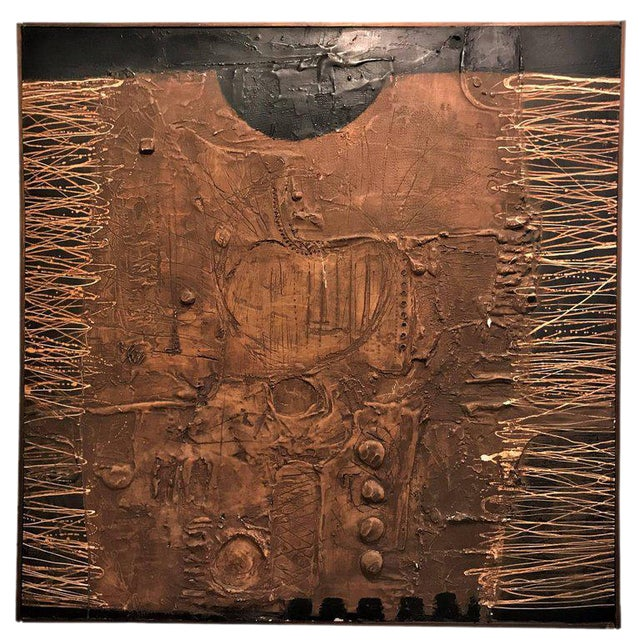 MCM Fine Abstract Oil on Board Signed by Michels Dated 1961, 'Copper Bleeding' For Sale - Image 11 of 11