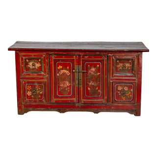 Mongolian Red Lacquered Cabinet with Hand Painted Floral Décor, circa 1900 For Sale
