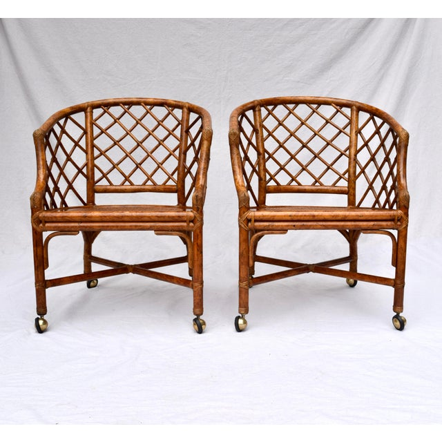 Chinoiserie Chinese Chippendale Rattan Barrel Chairs on Casters For Sale - Image 11 of 13