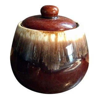 Vintage McCoy Brown Drip Sugar Bowl With Lid For Sale
