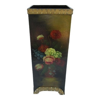 Vintage Tole Hand-Painted Floral Umbrella Stand For Sale